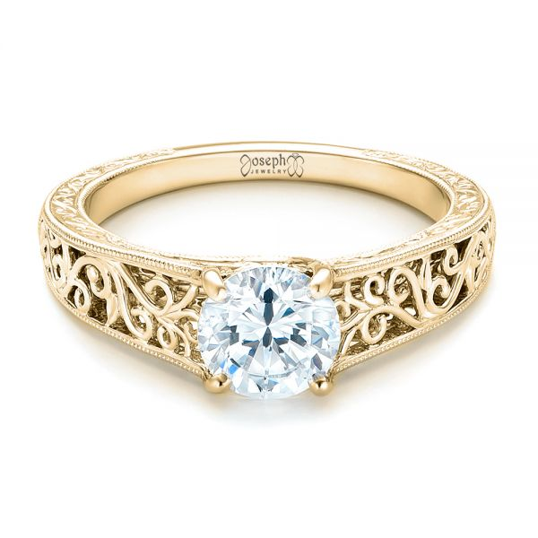 18k Yellow Gold 18k Yellow Gold Vine Filigree Solitaire Diamond Engagement Ring - Flat View -