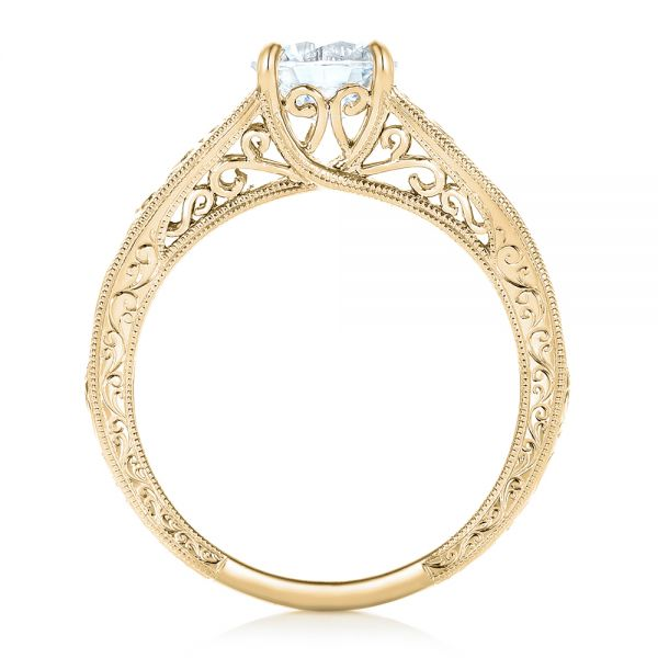 18k Yellow Gold 18k Yellow Gold Vine Filigree Solitaire Diamond Engagement Ring - Front View -