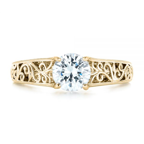 18k Yellow Gold 18k Yellow Gold Vine Filigree Solitaire Diamond Engagement Ring - Top View -