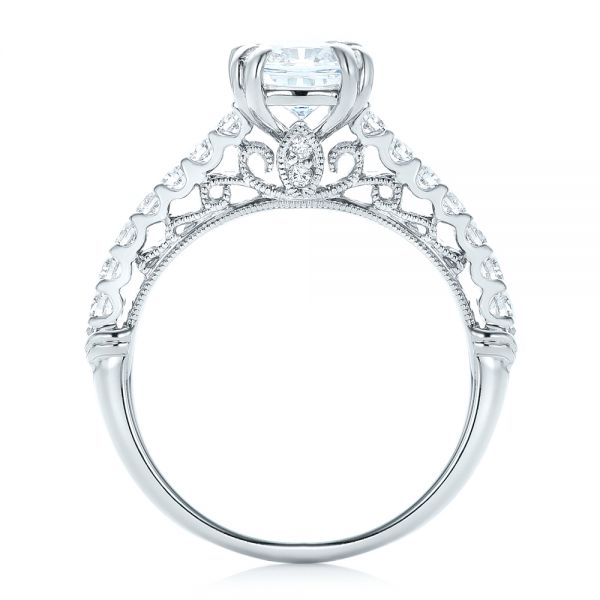 18k White Gold Vintage Diamond Engagement Ring - Front View -