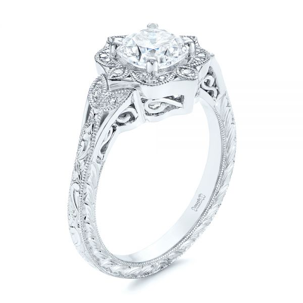 14k White Gold Vintage Floral Diamond Halo Engagement Ring - Three-Quarter View -  105767