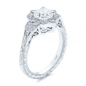 Vintage Floral Diamond Halo Engagement Ring - Image