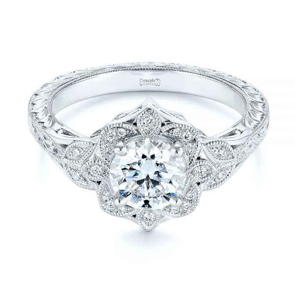 14k White Gold Vintage Floral Diamond Halo Engagement Ring - Flat View -  105767