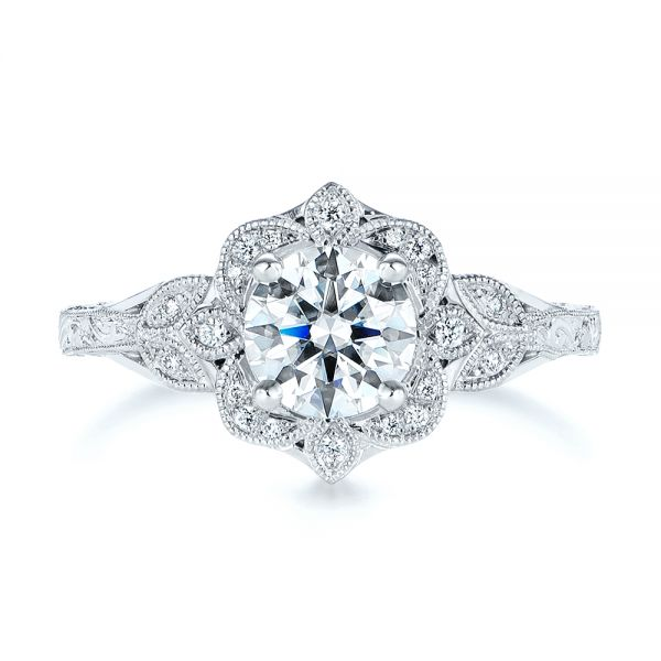 14k White Gold Vintage Floral Diamond Halo Engagement Ring - Top View -  105767