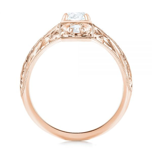14k Rose Gold 14k Rose Gold Vintage Style Diamond Engagement Ring - Front View -  103510