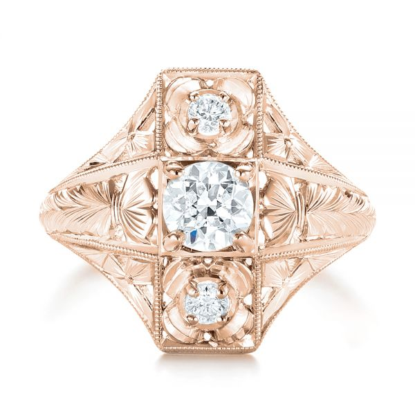 14k Rose Gold 14k Rose Gold Vintage Style Diamond Engagement Ring - Top View -  103510