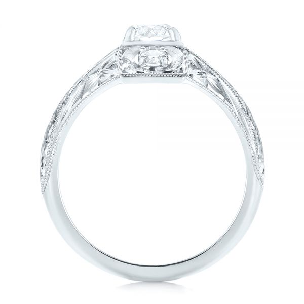 14k White Gold 14k White Gold Vintage Style Diamond Engagement Ring - Front View -  103510