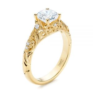 Vintage Style Filigree Engagement Ring - Image