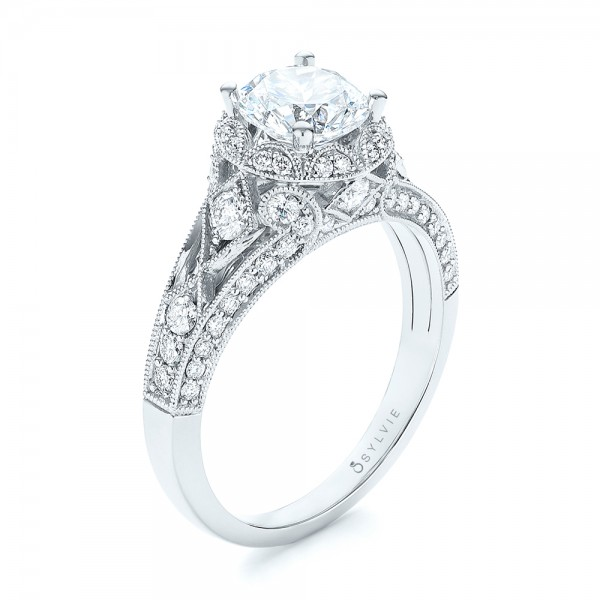 Vintage-inspired Diamond Halo Engagement Ring