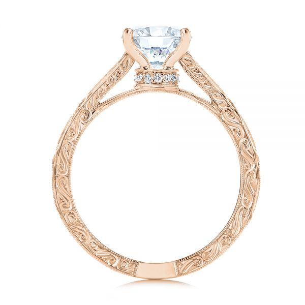 18k Rose Gold 18k Rose Gold Vintage-inspired Diamond Engagement Ring - Front View -  105367