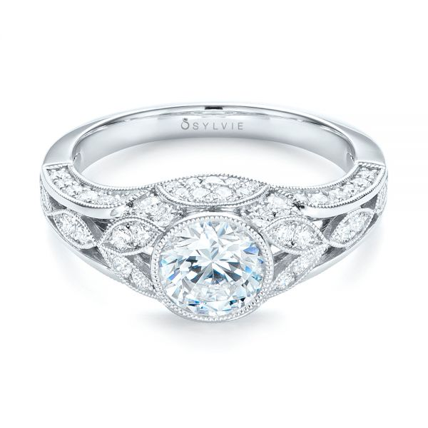 Vintage-inspired Diamond Engagement Ring - Flat View -  103046 - Thumbnail