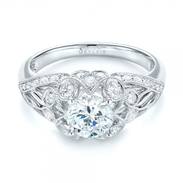 18k White Gold Vintage-inspired Diamond Engagement Ring - Flat View -