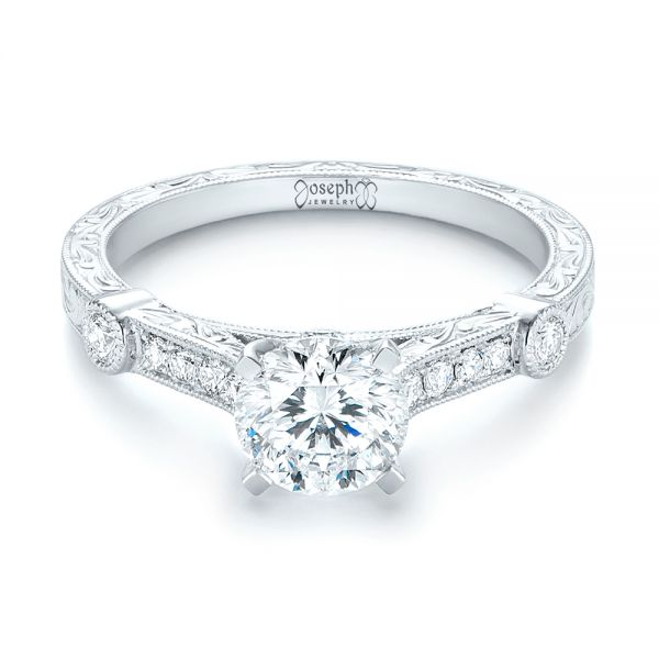Vintage-inspired Diamond Engagement Ring - Flat View -  103433 - Thumbnail