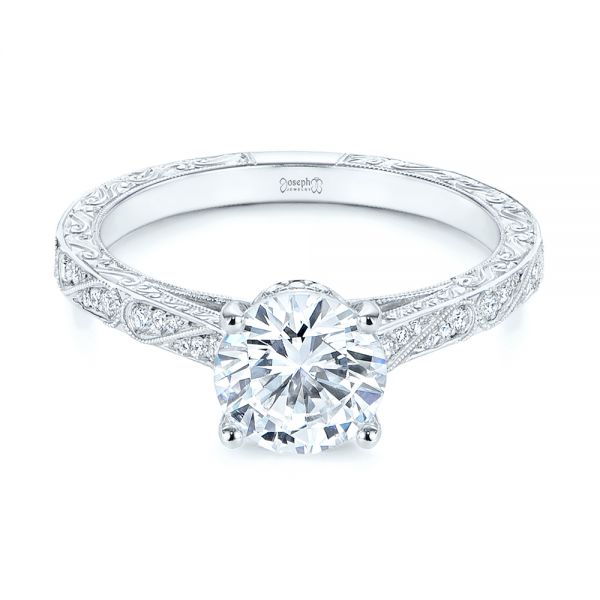 Platinum Platinum Vintage-inspired Diamond Engagement Ring - Flat View -  105367