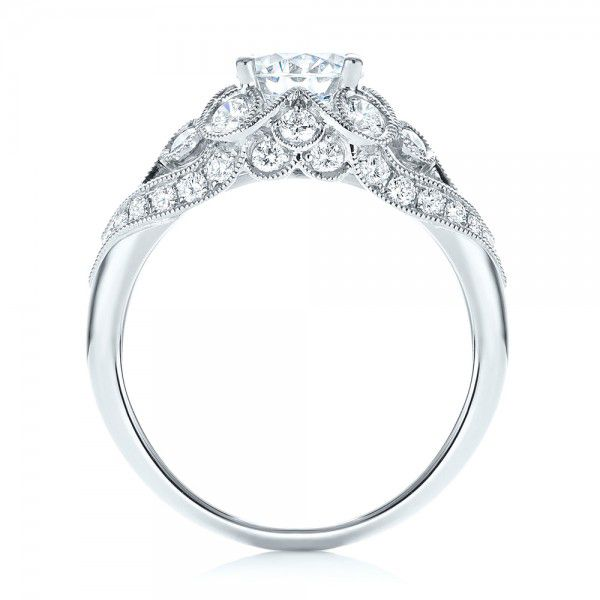 18k White Gold Vintage-inspired Diamond Engagement Ring - Front View -