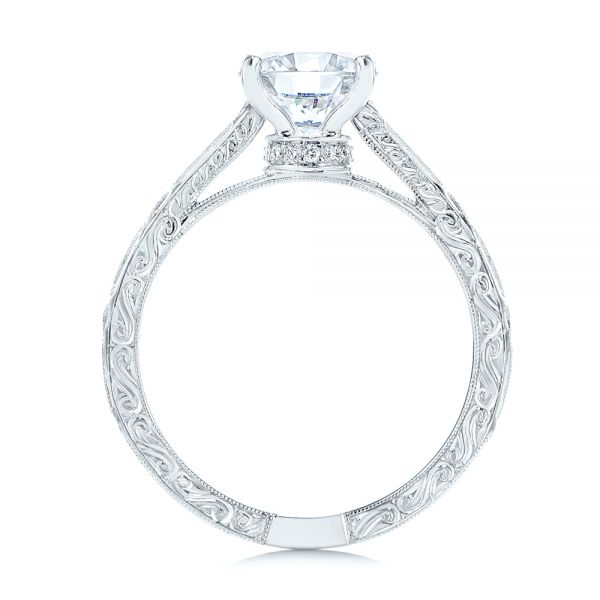 Platinum Platinum Vintage-inspired Diamond Engagement Ring - Front View -  105367