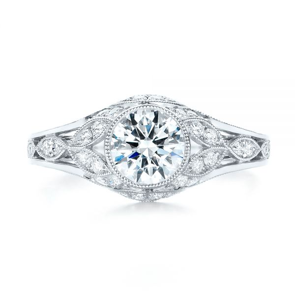 Vintage-inspired Diamond Engagement Ring - Top View -  103046 - Thumbnail
