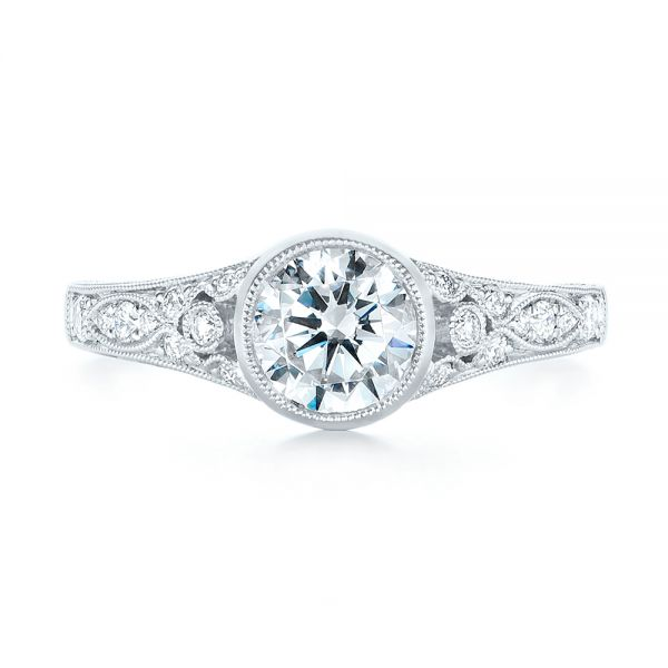 Vintage-inspired Diamond Engagement Ring - Top View -  103049 - Thumbnail