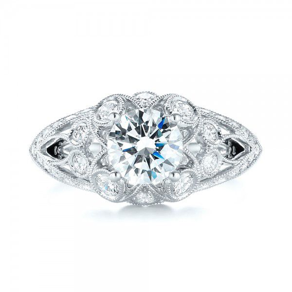 18k White Gold Vintage-inspired Diamond Engagement Ring - Top View -