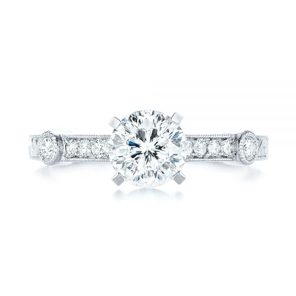 Vintage-inspired Diamond Engagement Ring - Top View -  103433 - Thumbnail