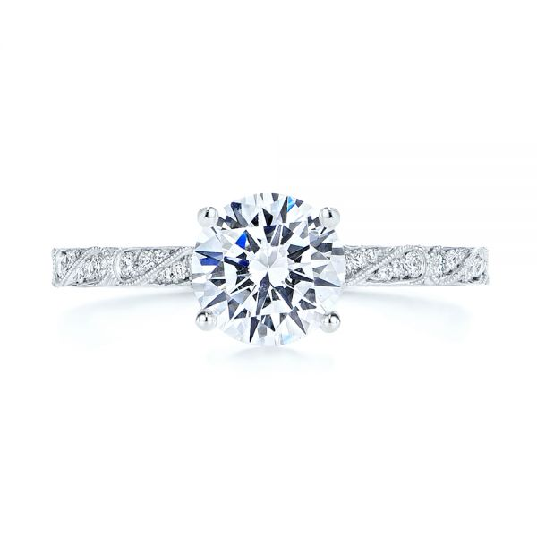 Platinum Platinum Vintage-inspired Diamond Engagement Ring - Top View -  105367