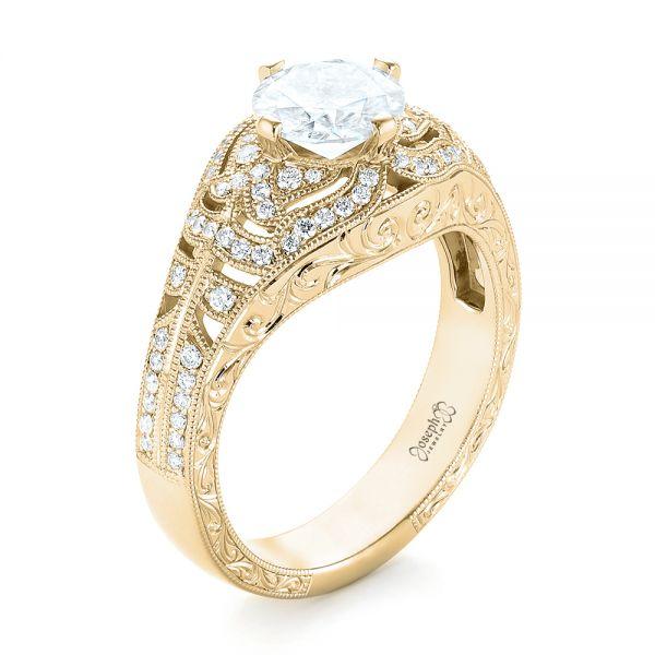 14k Yellow Gold Vintage,inspired Diamond Engagement Ring