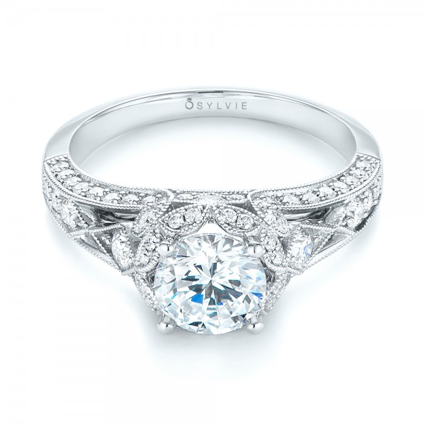Vintageinspired Diamond Halo Engagement Ring 103058