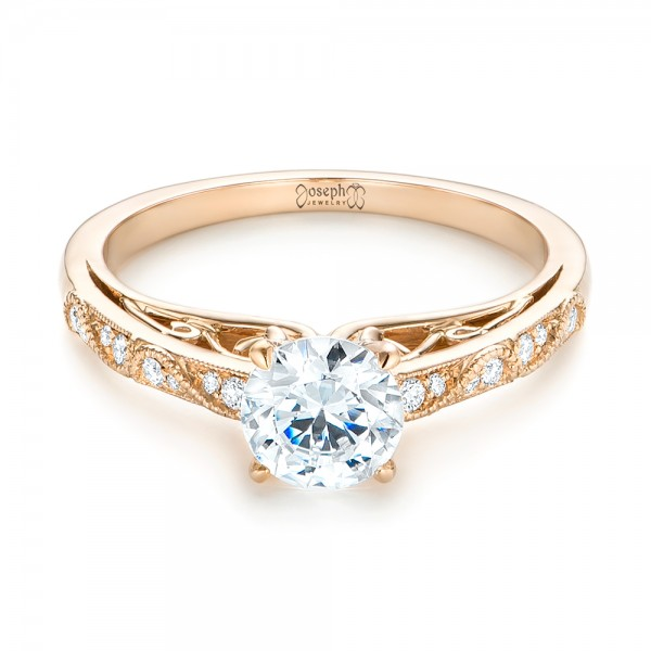 Vintage-inspired Diamond Engagement Ring - Laying View