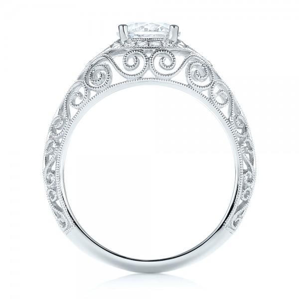 Vintage-inspired Diamond Engagement Ring - Finger Through View