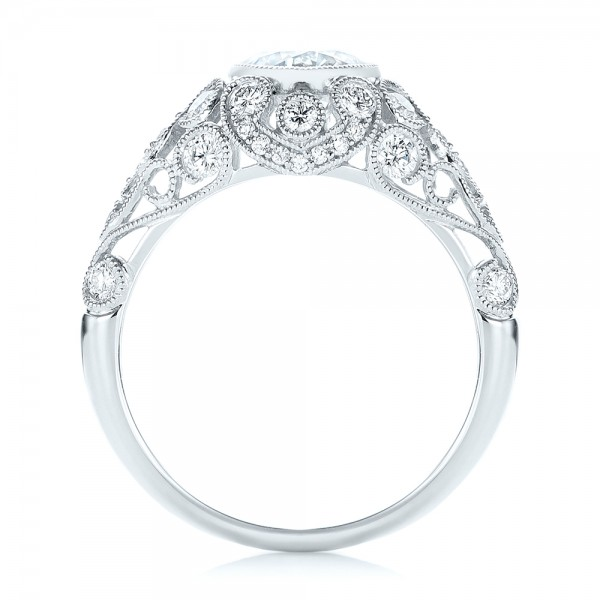 Vintage-inspired Diamond Engagement Ring - Finger Through View