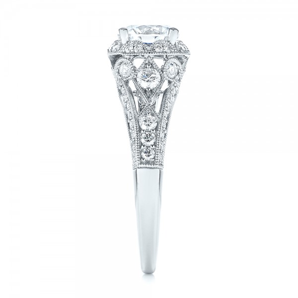 Vintage-inspired Diamond Halo Engagement Ring - Side View