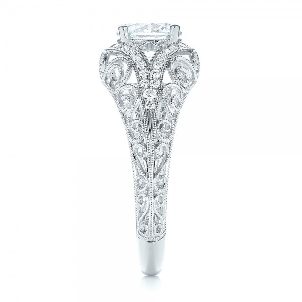 Vintage-inspired Diamond Engagement Ring - Side View