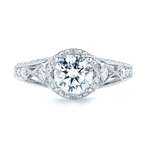 Vintage-inspired Diamond Halo Engagement Ring - Top View