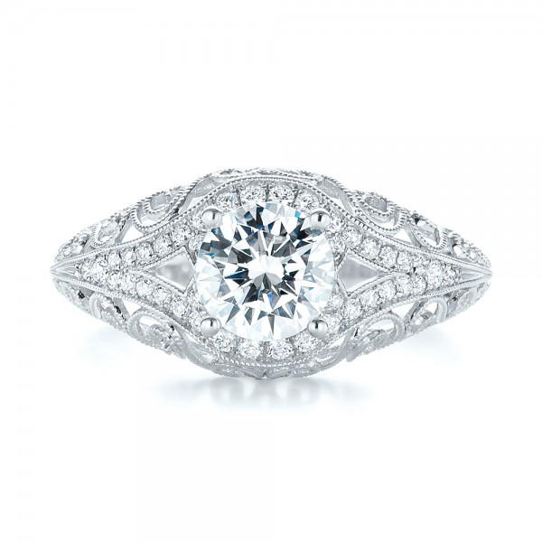 Vintage-inspired Diamond Engagement Ring - Top View
