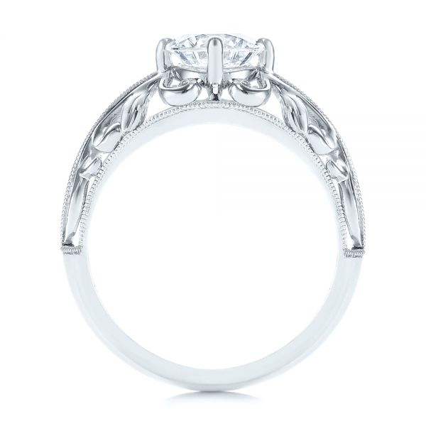 14k White Gold Vintage-inspired Filigree Diamond Engagement Ring - Front View -  105375