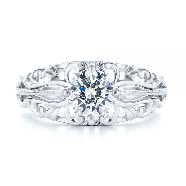 14k White Gold Vintage-inspired Filigree Diamond Engagement Ring - Top View -  105375