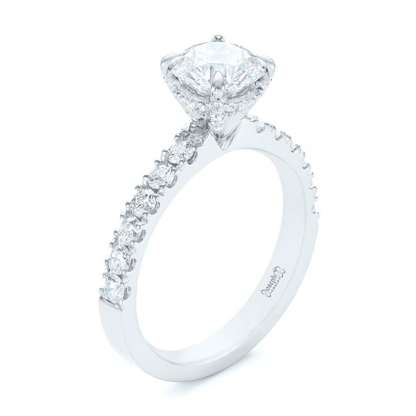 14k White Gold Classic Diamond Engagement Ring - Three-Quarter View -  104879