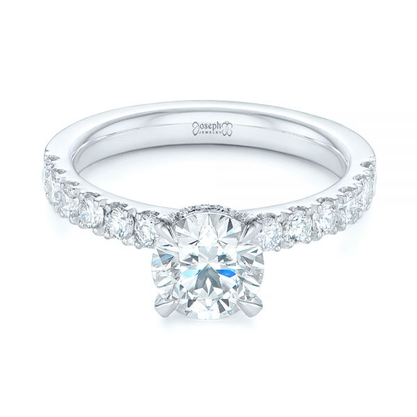 14k White Gold Classic Diamond Engagement Ring - Flat View -  104879