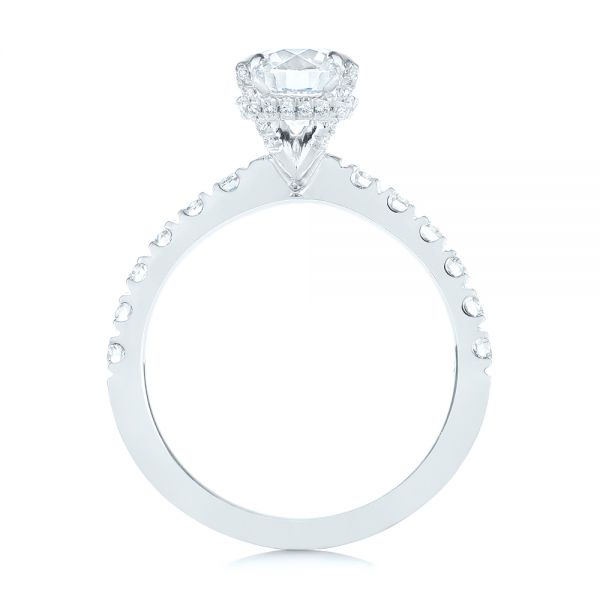 14k White Gold Classic Diamond Engagement Ring - Front View -  104879