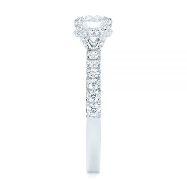 14k White Gold Classic Diamond Engagement Ring - Side View -  104879