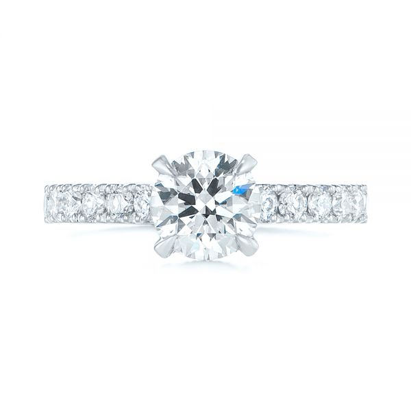 14k White Gold Classic Diamond Engagement Ring - Top View -  104879