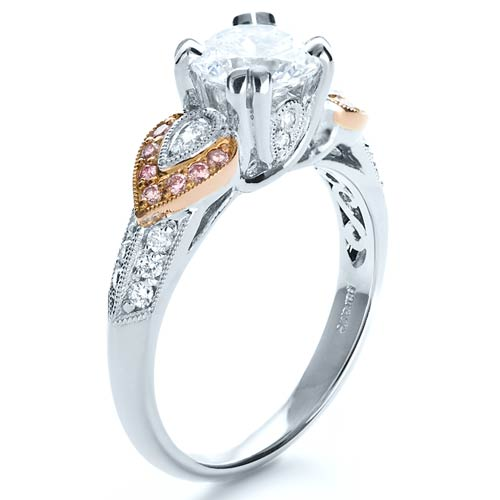 White and Rose Gold Diamond Engagement Ring - Parade - Three-Quarter View -  1127 - Thumbnail