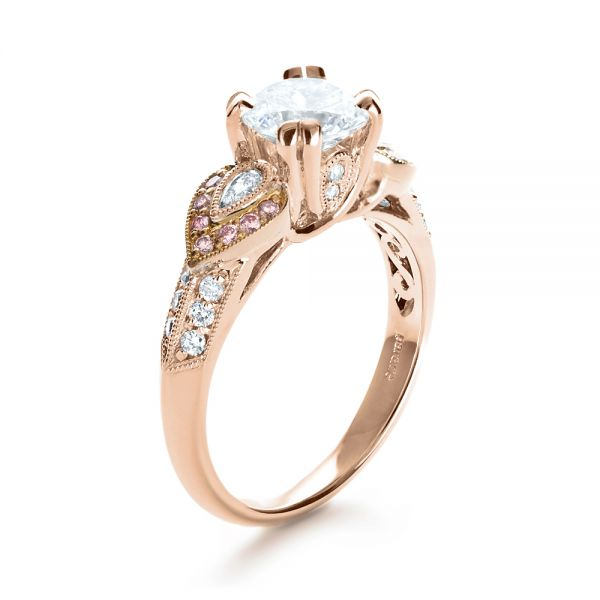 White and Rose Gold Diamond Engagement Ring - Parade - Image