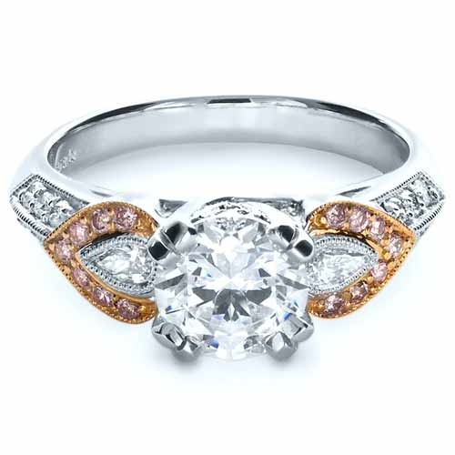 White and Rose Gold Diamond Engagement Ring - Parade - Flat View -  1127 - Thumbnail