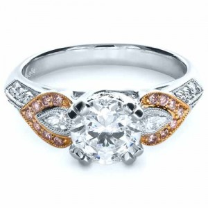 White and Rose Gold Diamond Engagement Ring - Parade
