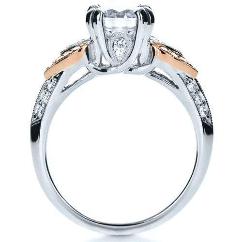 White and Rose Gold Diamond Engagement Ring - Parade - Front View -  1127 - Thumbnail