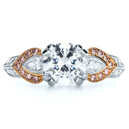 White and Rose Gold Diamond Engagement Ring - Parade - Top View -  1127 - Thumbnail