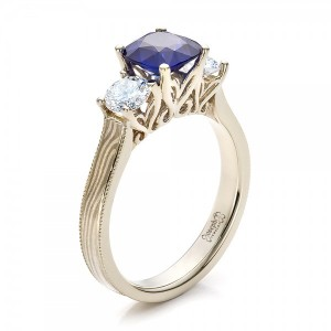 Women's Blue Sapphire, Diamond and Mokume Engagement Ring