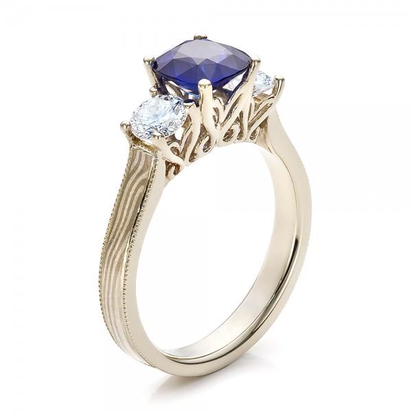 Women s Blue Sapphire Diamond and Mokume Engagement Ring Bellevu