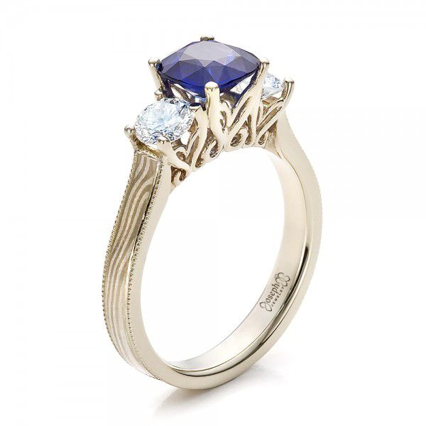 Women's Blue Sapphire, Diamond and Mokume Engagement Ring - Image